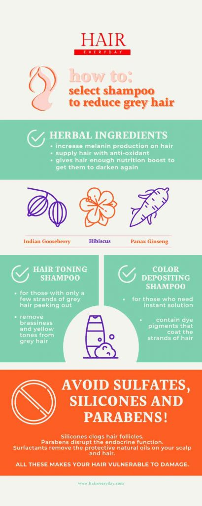 how to select shampoo to reduce grey hair