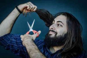 how to cut your own hair male scissors